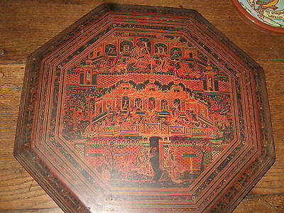 antique / vintage indonesian laquer table hand painted Bali