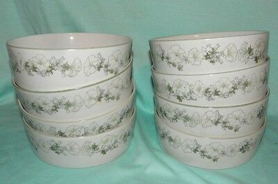 8 Block Spal Mary Lou Goertzen Watercolors White Petunias Soup or Cereal Bowls