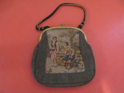 Antique,Vintage, Tapestry Hand Bag- Purse-Courting Scene-German silver