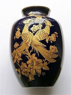 Kaiser Porcelain Vase Dark Blue With Gold Coloured Birds And Flowers Symphonie