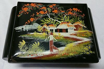 WOODEN JAPANESE JEWELRY BOX WW11 HAND PAINTED JAPAN PAGODA VINTAGE Vietnam