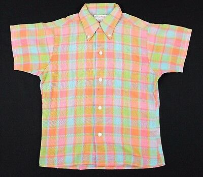 Vtg 1970s Sears Perma-Prest Button Down Shirt sz 10 youth plaid