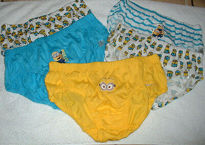 Five (5) Pairs Of Boys Despicable Me Minions Under Pants / Brief Age 11-12 Years