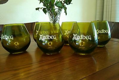 6 x Ardbeg Scottish Green Whisky Glasses New