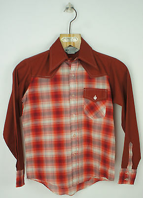 Vintage Kids Button Down Plaid Shirt Size 12