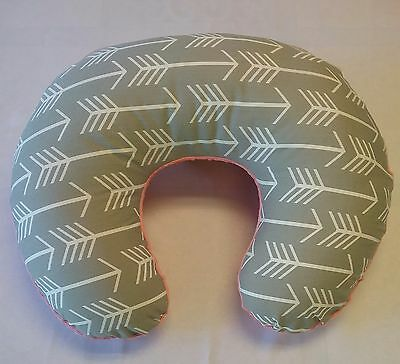 Boppy Cover, Nursing Pillow  Cover, Grey/White Arrow Print,Coral Minky backside
