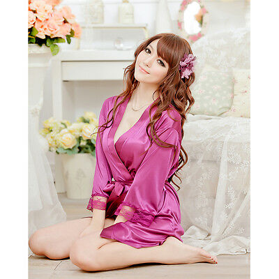Purple Chemise One Size Nighties Silk Pajama Nightwear Robe Lace Dress Underwear