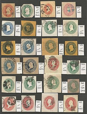 UNITED STATES. 1854-99. A Selection of 54 Different 19th Cent Cut Squares. Used.