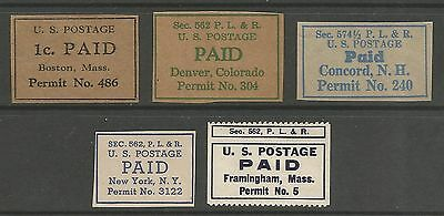 UNITED STATES. A Selection of 5 Different Postage Paid Permit Cut Squares.
