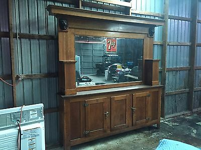 Antique Texas Back Bar With Lion Heads