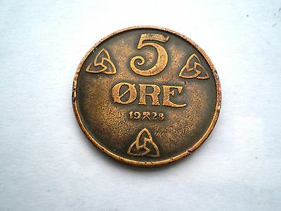 Early - 5 Ore Coin From Norway Dated 1928-Nice