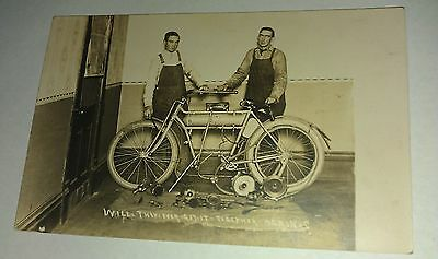 Two Young Men Building a Motor Bike Motorcycle Parts Photo Post Card RPPC