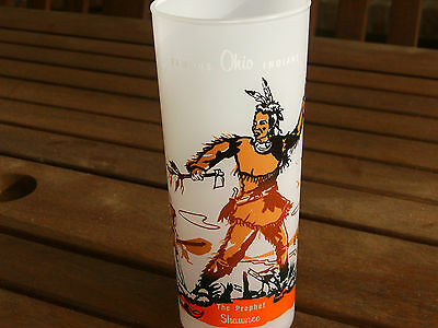 Vintage Bonded Oil Famous Ohio Indians Frosted Glass Tumbler The Prophet Shawnee