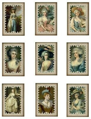 "Edwardian Ladies A Cotton Fabric Crazy Quilt Blocks (9) @ 2X3"" on 8.5X11"" Sheet"