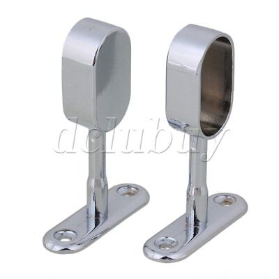 Zinc Alloy 16mm Oval Wardrobe Rod Support Hanging Seat Set of 2