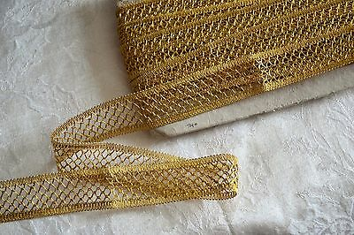 9.44_Yds_Vintage_Gold_Metallic_Threads_Crocheted_Lace_Trim_Made_In_France_N.o.s