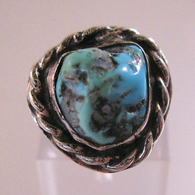 Native American Turquoise Nugget Ring Sterling Silver Size 5 Vintage Jewelry