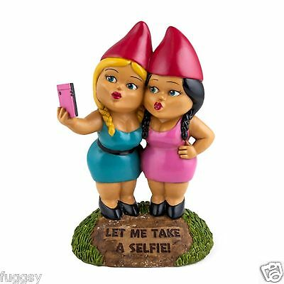 The Selfie Sisters Garden Gnome by BigMouth Inc Garden or Indoor Gift NEW