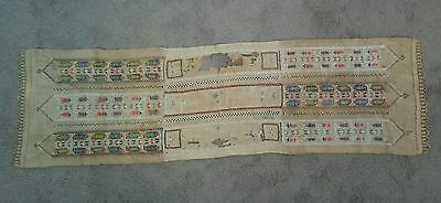 Antique late 18th early 19th C Loom Embroidered Textile Table Runner