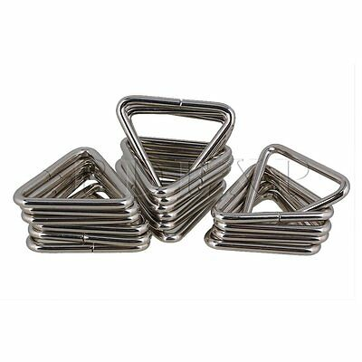 5cm Silver Metal Triangle Ring Triangle Loop Buckle for Luggage Handbag Set of20
