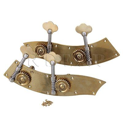2 x Brass 2R2L Machine Head Tuning Pegs Turners for 4/4 3/4 Bass Guitar