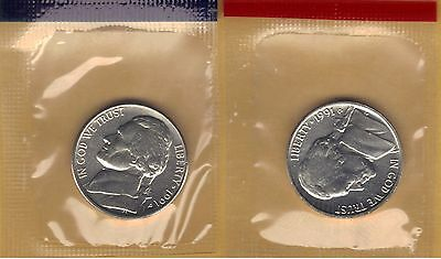 1991-P&d Choice Uncirculated Jefferson Nickels In Mint Set Cello