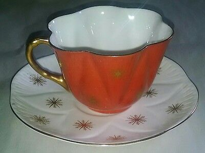 Vintage Shelley Snowflakes Orange Cup & Saucer Pattern 13850 Dainty Shape