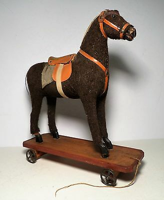 Antique Horse Pull Toy Black Mohair on Stand w/ Wheels
