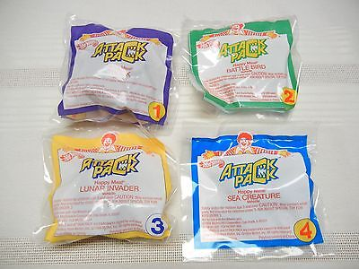 McDONALDS TOYS - - SET OF 4 - HOT WHEELS ATTACK PACK - 1994 - NEW IN PKG.