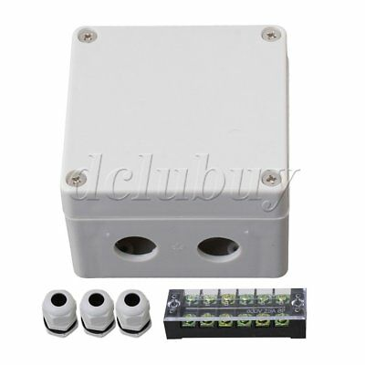 White Plastic 6 Postions Waterproof Junction Box with 3 PG9 Connector
