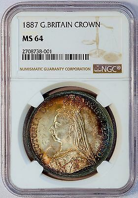 1887 Great Britain Queen Victoria Silver Crown Coin (NGC MS 64 MS64) (LV#711)