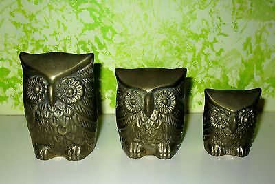 Vintage Set of 3 Leonard Solid Brass Owls Paper Weights Decorative Three Sizes