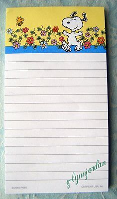 Peanuts Snoopy Spring Yellow Magnetic Shopping List Notepad Nwop