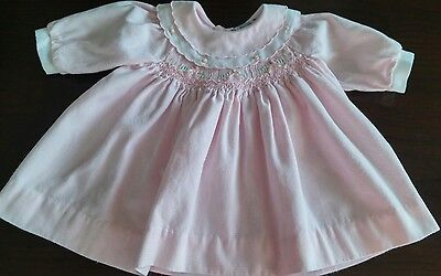 Vintage Carriage Boutiques Baby Girl Doll Pink Smocked Dress~Size 3 mths~