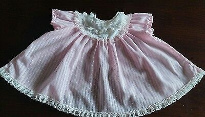 Vintage Baby Girl Doll Pink Lace and Polka Dot Dress~Size 12-18 mths~