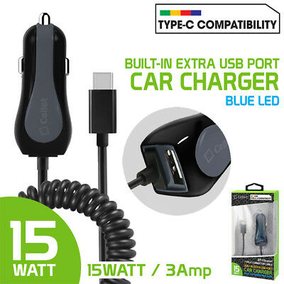 Cellet 3 Amp 15 Watt Type-C Fast USB-C Car Charger Extra USB Port For Phones