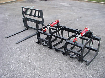 """Skid Steer Attachment 72"""" Root Grapple Bucket with 42"""" Pallet Forks - Free Ship!"""