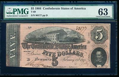AC T-69 $5 1864 Confederate Currency CSA PMG 63