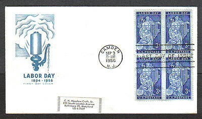 Us Fdc 1956 Labor Day 3C Stamps Hf Cachet First Day Of Issue Cover Camden Nj