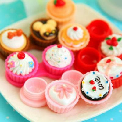 Cute Travel Holder Container Cake Contact Lens Case Box Ice Cream Shape