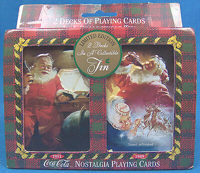 NEW Coca Cola Santa Tin Limited Edition CHRISTMAS Playing Cards Collectible 1997