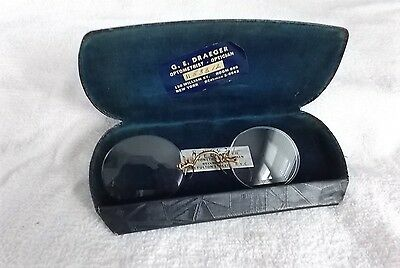 Antique Pinch Nose Glasses Spectacles No Frame  With Case