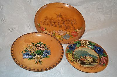 Lot of 3 German Austrian Vintage wood wall plaques plates painted pyrography