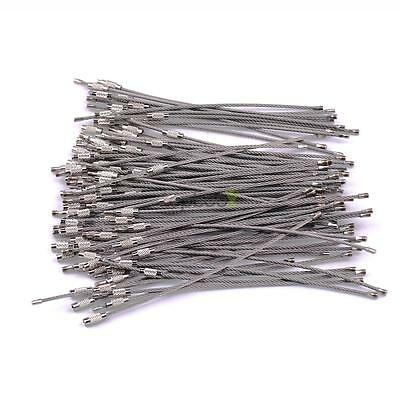 100PC Stainless Steel EDC Aircraft Cable Wire Key Chain Ring Twist Screw Locking