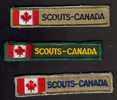 Boy Scouts Canada 3 Canadian Flag Strip Badges All Different
