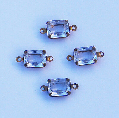 VINTAGE 4 CRYSTAL CLEAR GLASS UNFOILED OCTAGON CONNECTOR BEAD BEADS • 10x8mm