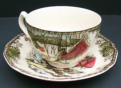Johnson Bros Friendly Village 2 Ice House Cups & Saucers England