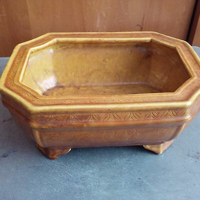 China antique brown glaze shallow carved flowers rectangular octagon flower pot