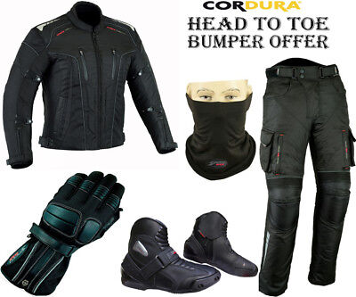 Black Hawk Combo Mens Ce Motorbike Motorcycle Jacket Trousers Boots Gloves Suit