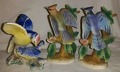 3 Mid Century 1950's Hand Painted Blue Jay Bird Figurines Original Labels On All